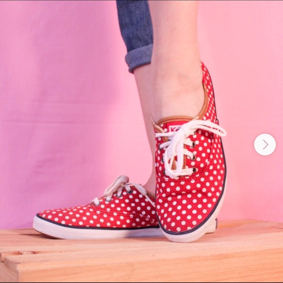 Keds size 7 red with white polka dots